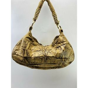 Golden Brown Faux Suede Animal Print HOBO Bag
